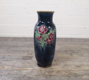 Vintage-Royal-Doulton-Art-Nouveau-Floral-Roses-Blue-Vase-With-Stamp-amp-Signature