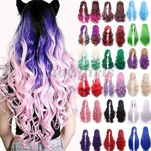 Young Womens Party Cosplay Wigs Two Tone Ombre Hair Costume Full Wig ... 03f6d082b