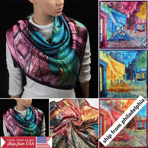 Fashion-Scarf-Women-039-s-Oil-Painting-Printed-Large-Silk-Satin-Square-Scarf-35-034-35-034