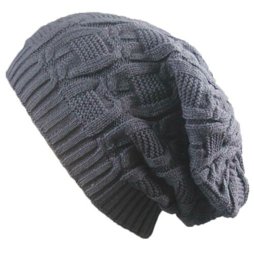 Hommes Femmes Femmes Slouch Hiver Chaud Tricot Laineux Bonnet Chapeaux Ski Chapeau UK
