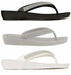 a89211812 ELLA S1 Diamante Ladies Flip Flops Toe-post Sandals in Black White ...