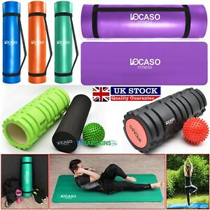 Yoga-Mat-for-Pilates-Gym-Exercise-Carry-Strap-15mm-Thick-Large-amp-Foam-Roller-UK