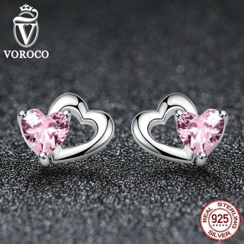 Corazones de plata esterlina S925 que empareja voroco Oreja Pasador Aretes De Platino Pink CZ