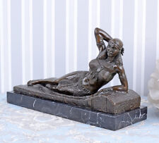 Bronzeskulptur Kleopatra Figur Art Deco Bronze Marmorsockel Einzelstück