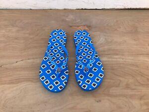 Tory Burch Maze Diamond Printed Thin Flip Flop Sandals Blue Size 8 M Ebay