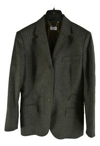 Paul-Smith-Damen-Blazer-Gr-46-M-Grun-Gestreift-Wolle-Mohair-Kashmere-R2