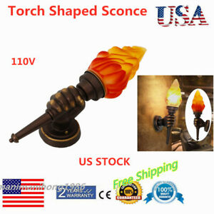 Antique-Torch-Lamp-Glass-Classic-Wall-Lamp-Garden-Lantern-Sconce-Porch-Light