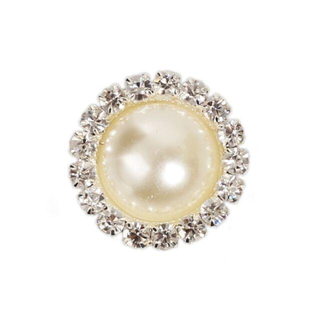 Nice 10pcs Crystal Pearl Color Button Decoration Wedding Embellishment Headband