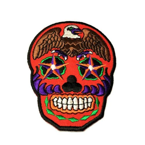Bald Eagle Sugar Skull Iron on Patches 3.5 Inch Star Badge Embroidered Applique