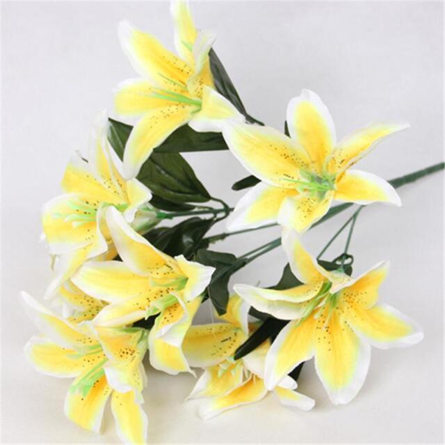 10PCS Heads Bouquet Artificial Fake Lily Flowers Party Bunch Decoration Hot