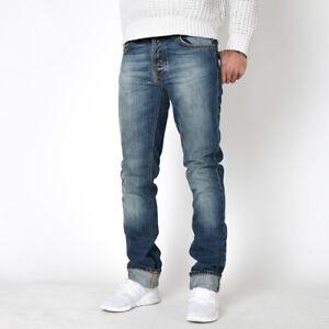 Nudie-Herren-Slim-Fit-Used-Look-Jeans-Hose-Bio-Baumwolle-Grim-Tim-Bright-Blue