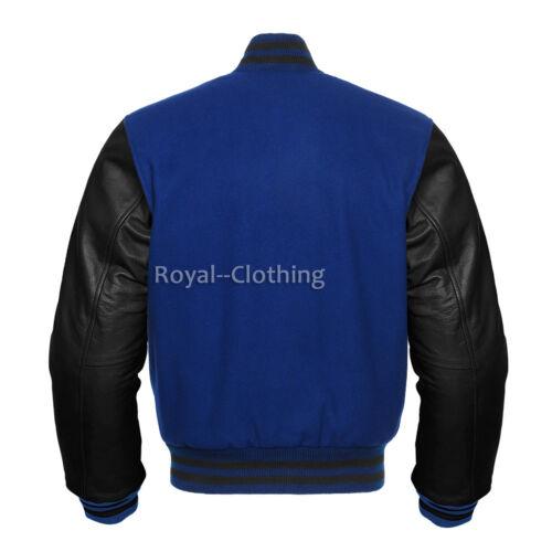 Varsity Baseball Letterman Wool and Black Genuine Leather Sleeves Jacket XS~7XL