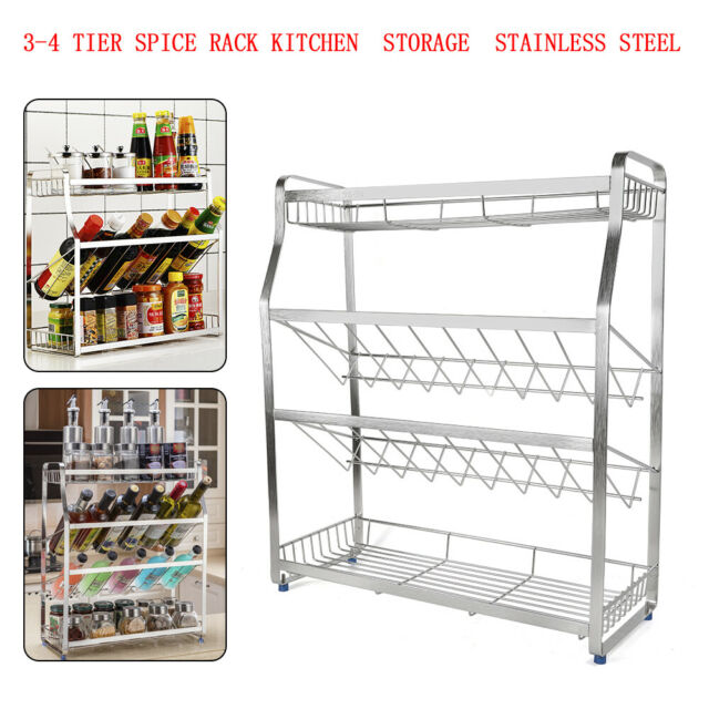 Standing Rack Kitchen Bathroom Cup Jar Spice Storage Organizer Shelf Holder KP