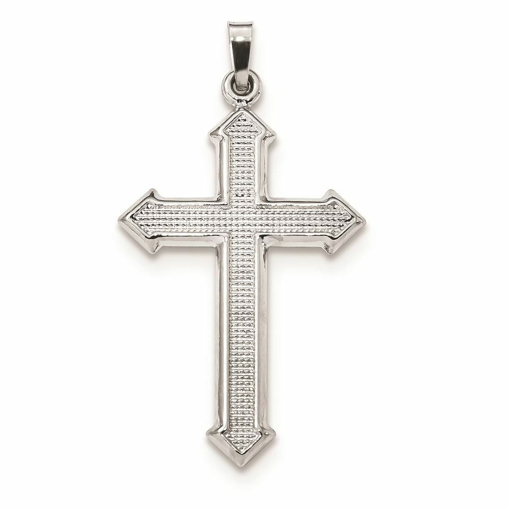 14K Textured Passion Cross Charm Pendant