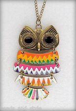 Long big vintage antique golden chain color owl pendant/fashion jewelry necklace