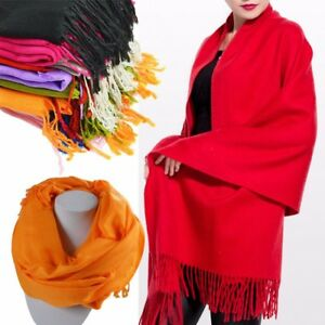 Winter-Warm-Long-Soft-Wrap-Shawl-Cashmere-Tassels-Scarf-Stole-Women-Solid-Color