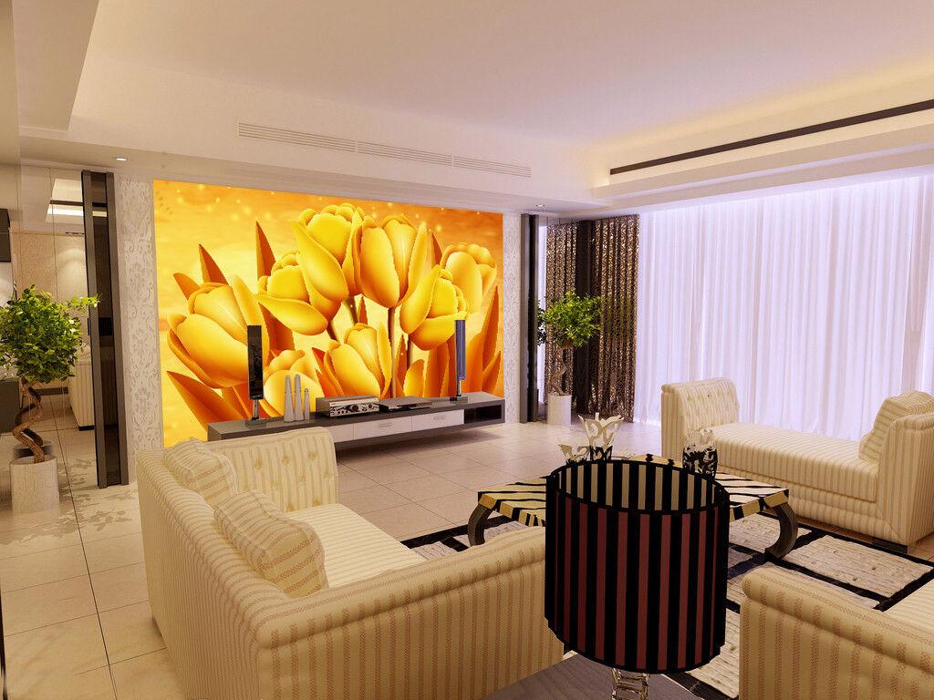 3D golden Tulips 900 Wall Paper Murals Wall Print Wall Wallpaper Mural AU Kyra
