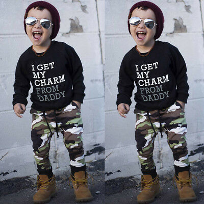 1Set Toddler Kids Baby Boys T-Shirt Top+Long Camouflage Pants Outfits Clothes K
