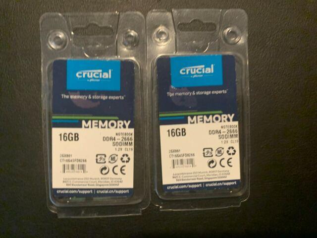 Crucial 32gb DDR4  2x 16gb 2666 MHz Pc4-21300 SODIMM 260-pin Laptop Memory