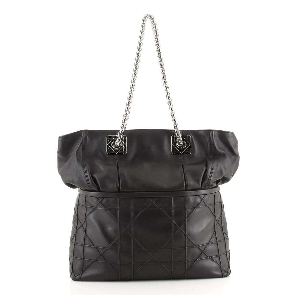 Christian Dior Granville Chain Tote Cannage Quilt Leather XL    eBay