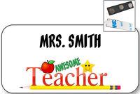 White Name Badge Tag For Best Teacher Gift Christmas Present Magnetic Fastener