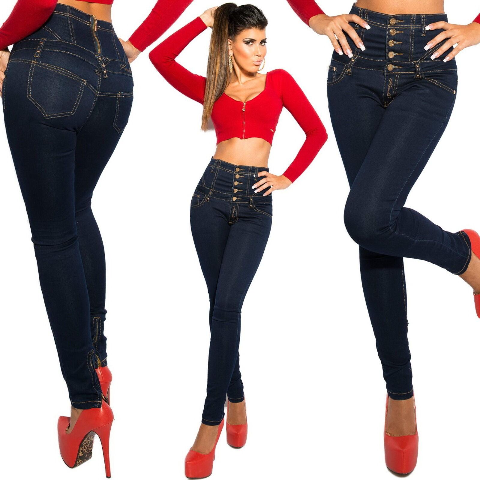 Women's High Waist Ankle Zip Slim Skinny Denim Jeans - XS S M L XL