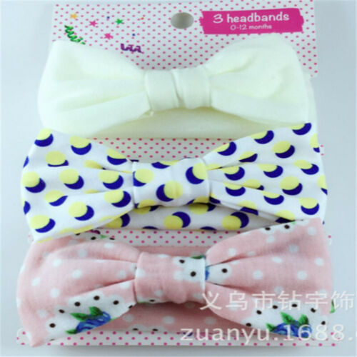 3Pcs Baby Girls Kids Flower Cotton Bowknot Headband Children Hair Band Headwear
