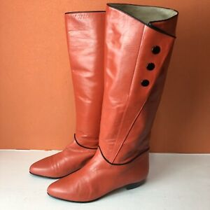 Vintage Red Soft Leather FLAT Boots