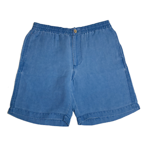 Tommy-Bahama-Mens-Shorts-Size-Medium-T816270-Flat-Front-100-Silk-Buccaneer-Blue