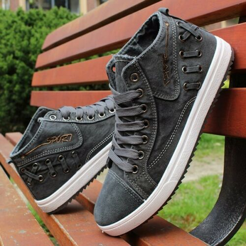 US Men/'s High Top Sneakers Canvas Shoes Casual Breathable Driving Walking