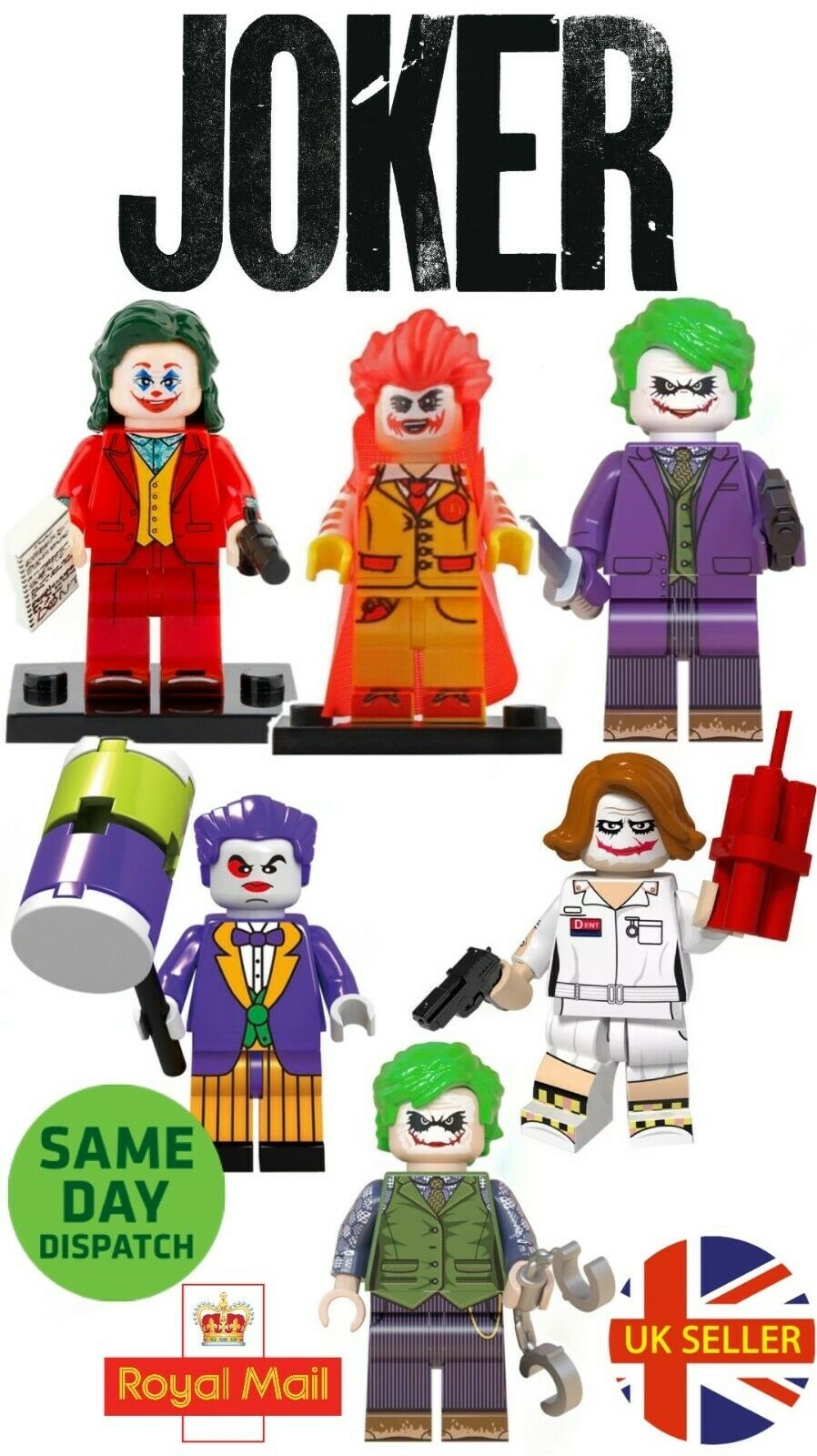 Joker Mini Figure MK2 Heath Ledger Batman Dark Knight Cuffs DC Marvel UK Seller