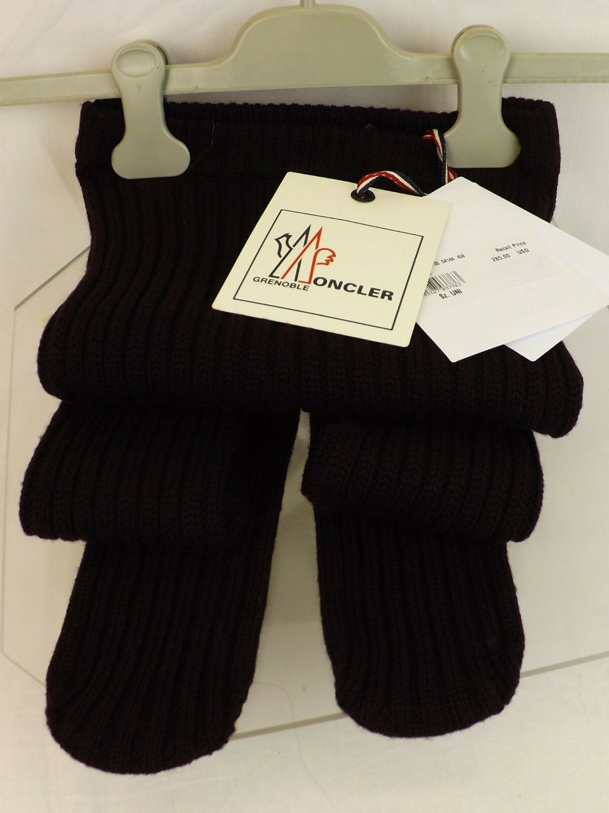 NWT MONCLER  DARK PLUM WOOL RIBBED KNITTED TIGHTS PANTYHOSE ONE SIZE  285 ITALY