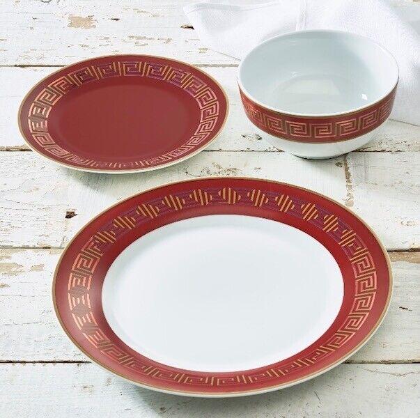 rouge mythologie 12 Pièces Porcelaine Dinnerware Set Méditerranée BLANC ROND 4 plac