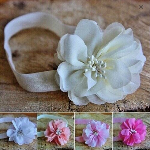 Flower Headband Hairband Chiffon Flower Baby Girl Wedding Christening PrettyWedd