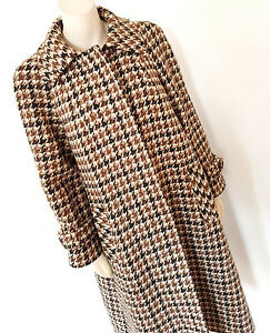 Vintage-1960s-60s-Aquascutum-Mod-Hounds-Tooth-Swing-Coat-Size-12-14