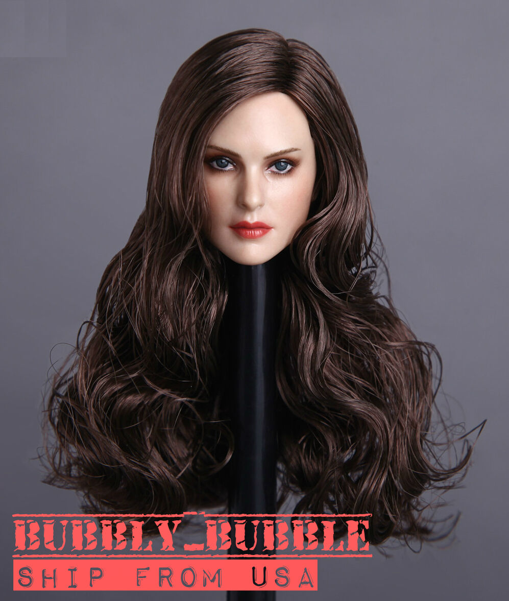 1 6 Female Head Sculpt LONG BROWN HAIR For PHICEN Hot Toys Figure SHIP FROM USA