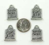 Grave Stone Charms, Tierracast Charms, Antiqued Silver Plated, 4 Pieces