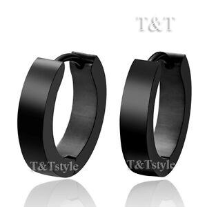 TT-2mm-Width-Slim-Stainless-Steel-Black-Hoop-Earrings-NEW-EH01D-2x9