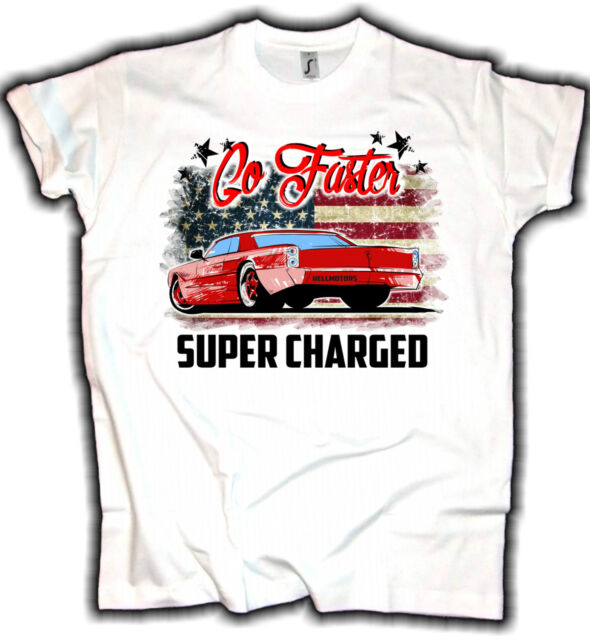 Go Faster US Muscle Car V8 T-Shirt Oldtimer Lowrider Oldschool Hotrod Rockabilly