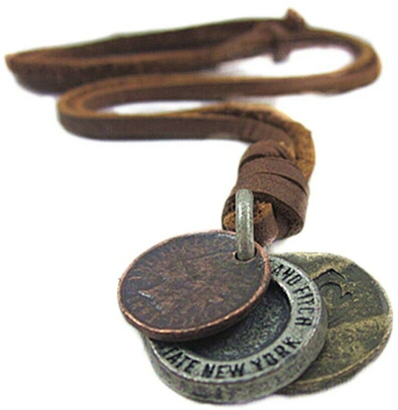 Seven And Eight Men's Vintage Punk Rock Style Camera Shape Leather Necklace