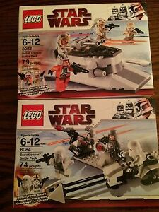 LEGO 8083 8084 Star Wars Snowtrooper & Rebel Trooper Battle Packs New in Boxes!