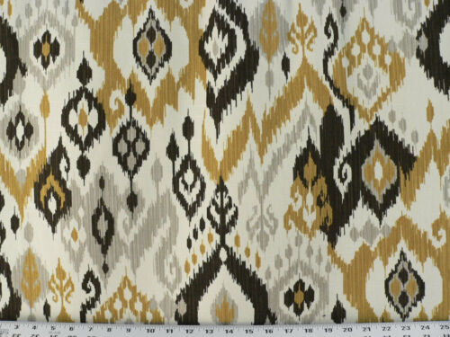 Gold Drapery Upholstery Fabric Stain Repellent Linen Textured 100/% Cotton Ikat