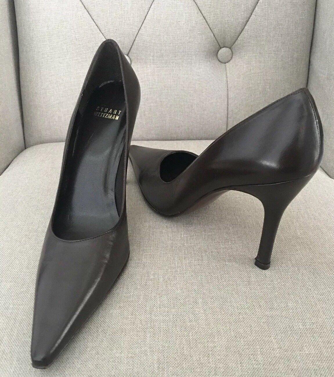 Stuart Weitzman Princess Pump Dark Brown Leather 8.5N New Without Box