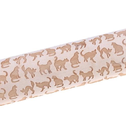 Cat Pattern Wooden Engraved Rolling Pin Cut Cookie Cake Pizza Baking Tool BI