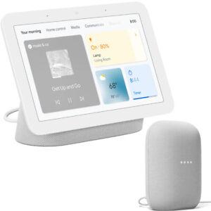 Google Nest Hub Display Gen 2 (Chalk) + Google Nest Audio Smart Speaker (Chalk)