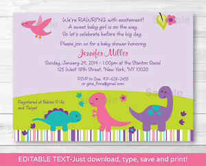 Girl dinosaur printable baby shower invitation editable pdf ebay image is loading girl dinosaur printable baby shower invitation editable pdf filmwisefo