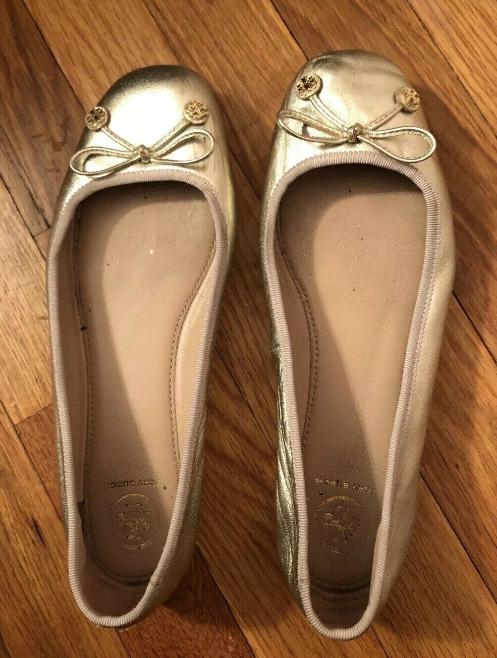 Tory Burch Laila Driver Leather Ballet Flats Women shoes Size 8.5 gold Preowned