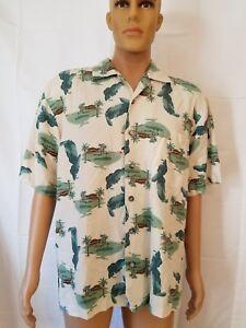 Aureus-Silk-Button-Up-Hawaiian-Shirt-Putting-Green-Golf-Print-Mens-Large