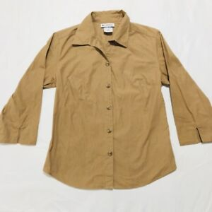 Columbia-Sportswear-Co-Women-s-Brown-3-4-Sleeve-Button-Up-Shirt-Blouse-Medium