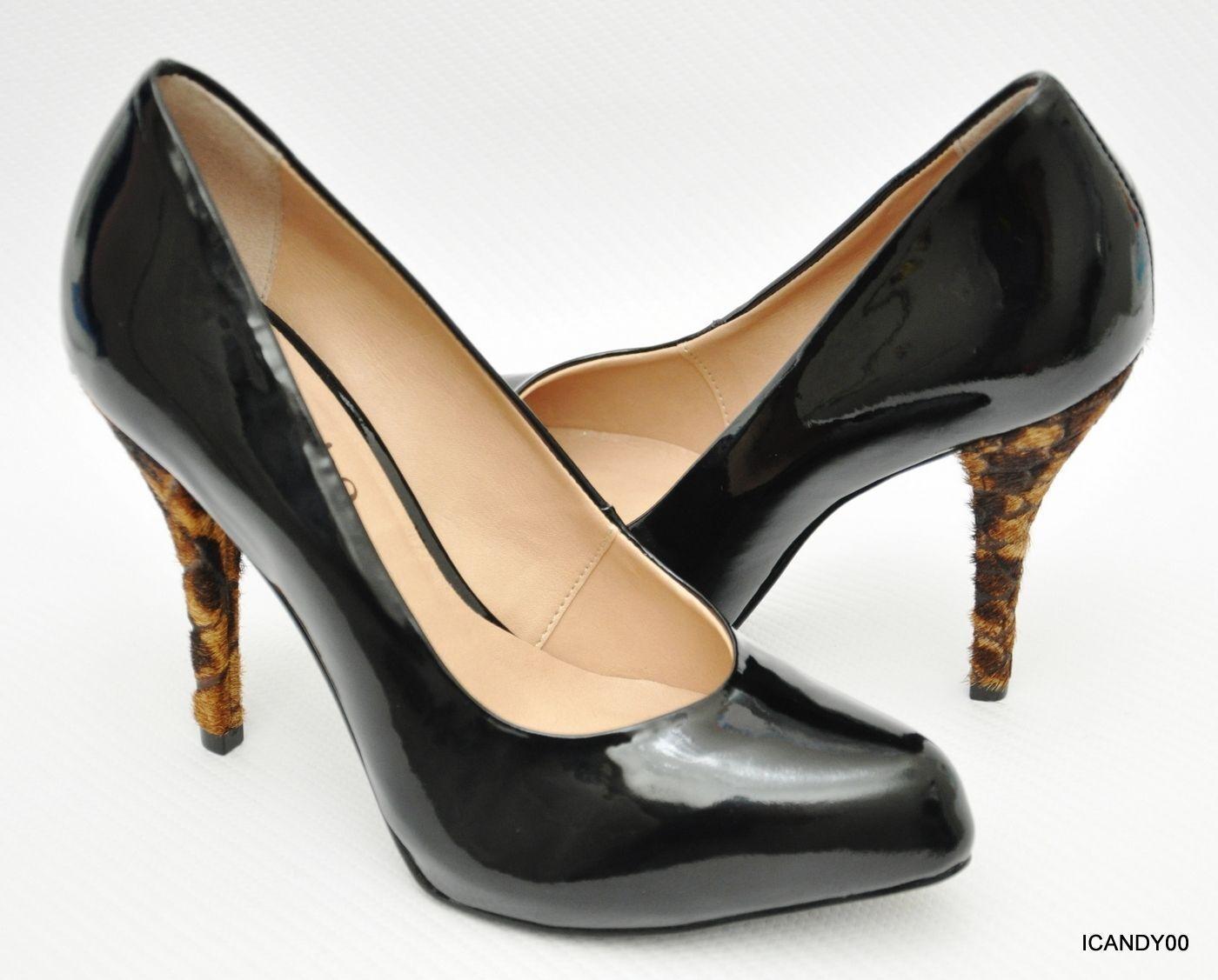 New Miucha Brazil Patent Leather Platform Pump Calf Hair Heel Black 6 37